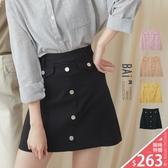 褲裙 純色假口袋排釦後拉鍊短裙M-L號-BAi白媽媽【301022】