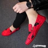 豆豆鞋 老北京2020年夏季布鞋男士韓版豆豆鞋百搭紅色潮鞋子布鞋男休閒鞋
