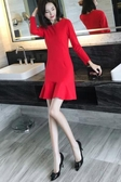 長袖洋裝連身裙秋冬2018新款女裝韓版長袖修身大碼顯瘦魚尾荷葉邊a字裙潮