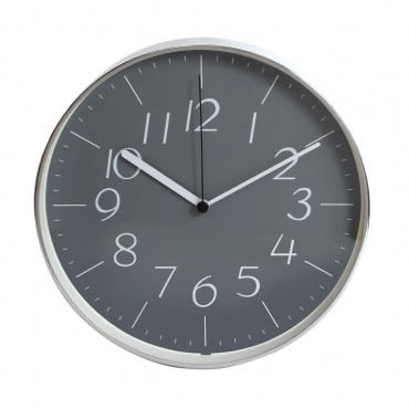 lovel 25cm灰色時空鋁框靜音壁掛時鐘(dgy722)