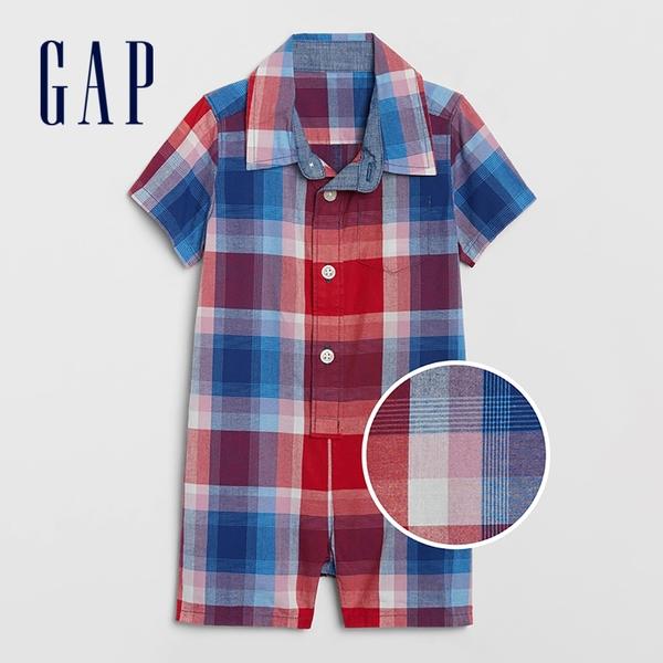 Gap嬰兒 英倫風格紋襯衫領包屁衣 700528-紅藍格紋