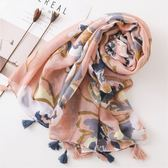 📢現貨供應📢韓國外貿原單春夏秋冬女棉質圍巾時尚潑墨花朵時尚防曬披肩S1-10