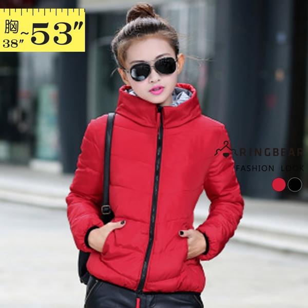 保暖外套--俐落保暖禦寒防風立領連帽雙口袋合身款鋪棉外套(黑.紅XL-5L)-J306眼圈熊中大尺碼◎