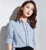 藍色職業襯衫女短袖2018夏季新款韓版商務女裝OL襯衣寬鬆雪紡上衣第七公社