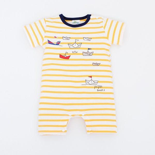 可愛《條紋小船款》短袖連身衣
