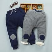 兒童冬季加絨加厚褲子男童女童休閒衛褲嬰幼兒童聖誕節冬裝夾棉褲 美芭