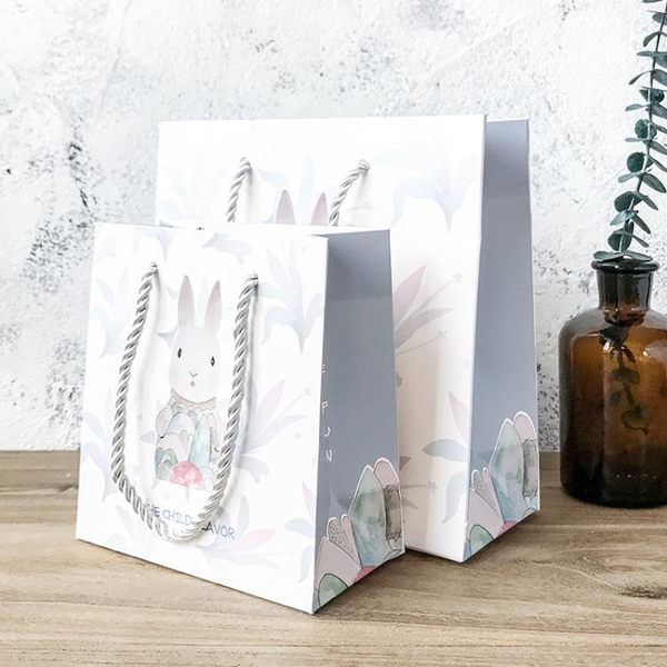 森系簡約禮品袋禮物盒紙袋子手提袋生日節日情人送禮伴手禮袋(買一送三)【無敵3C旗艦店】