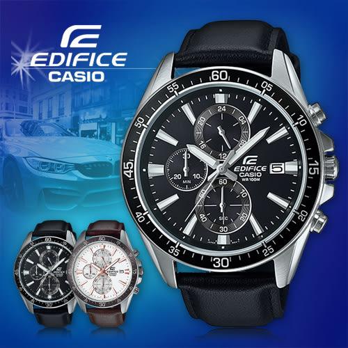 CASIO手錶專賣店 卡西歐 EDIFICE EFR-546L-1A 男錶 三眼計時 防刮礦物玻璃 防水100米 碼錶 賽車 皮革錶帶