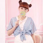 Poly Lulu 野餐格紋竹節棉假兩件上衣-藍【91080324】