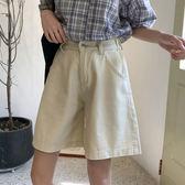 夏裝女裝韓版寬鬆百搭寬管褲高腰顯瘦牛仔褲學生休閒褲五分褲短褲 草莓妞妞