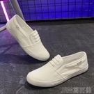 夏季透氣白色低幫帆布鞋男女韓版情侶休閒平底懶人小白鞋學生板鞋 快速出貨
