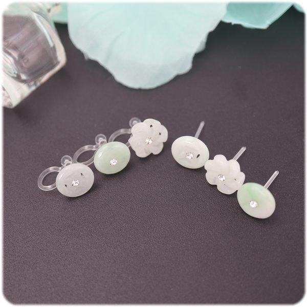 耳環 水鑽 玉系列 - 幸福 透明耳針/耳夾 (單只價) i917ღ