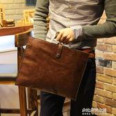 小P男包 新款韓版英倫復古包男士手袋Ipad公文包手提單肩包  朵拉朵衣櫥