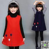 裙裝女童毛呢子無袖背心裙子大紅兒童中大童春秋冬季寶寶公主洋裝裝 生活主義