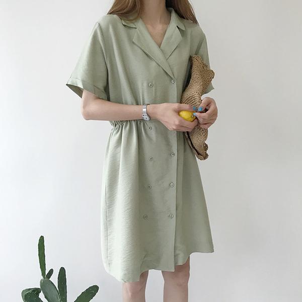 [超豐國際]夏季復古氣質西裝領收腰連衣裙女寬松顯瘦短袖純色襯1入