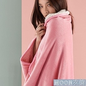 單人毛毯 多功能雙層法蘭絨懶人毯加厚季辦公室午睡毛毯學生宿舍斗篷披肩 快速出貨