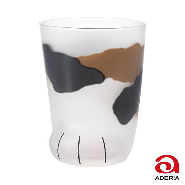 日本ADERIA 可愛貓掌肉球玻璃杯300ml-三花