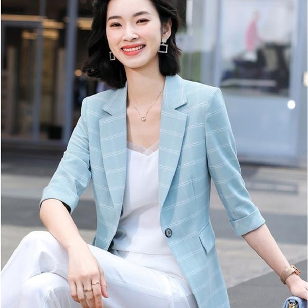 五分反摺袖馬卡龍色格紋春夏搭配外套[21X051-PF]美之札