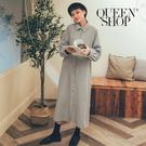 Queen Shop【01084719】小藍格紋後抓皺排釦長洋裝*現+預*