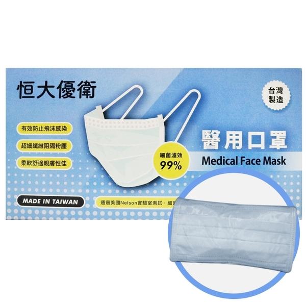【全家免運】恒大 優衛 成人 醫用口罩(藍色) 50入/盒