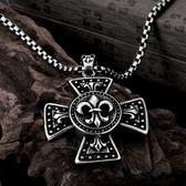 鈦鋼項鍊吊墜-十字架做舊生日情人節禮物男配件73cm117【時尚巴黎】