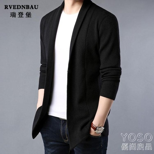 針織衫外套 秋冬季韓版chic港風針織開衫男士帥氣中長款加厚毛衣外套男裝線衫 快速出貨