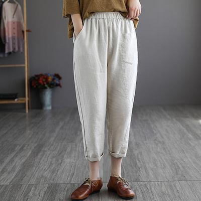 亞麻純色休閒九分褲 寬鬆鬆緊腰復古哈倫褲/3色-夢想家-0329
