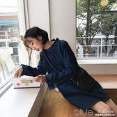 秋裝牛仔洋裝韓版直筒高領長袖中長裙女裙 深藏blue