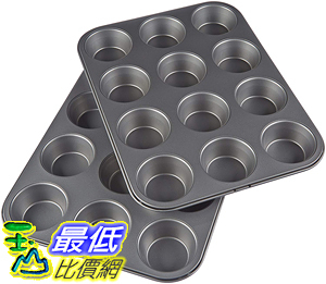 [8美國直購] AmazonBasics 鬆餅盤鬆餅模型 Nonstick Carbon Steel Muffin Pan, Set of 2, 12 Cups Each