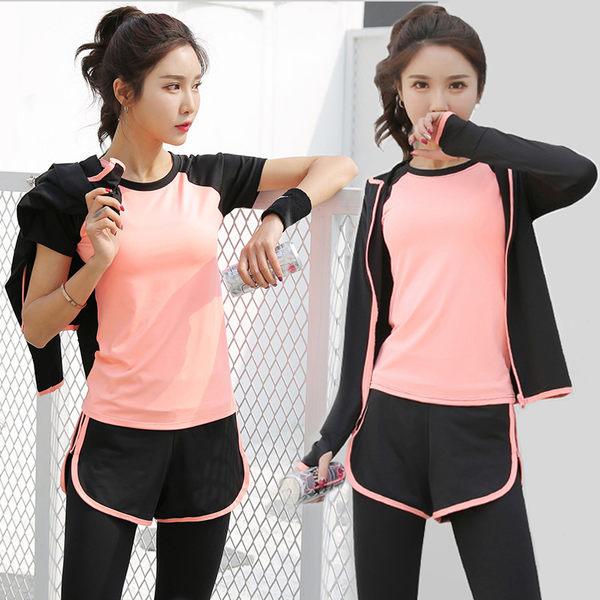 瑜伽服運動套裝 五件套晨跑顯瘦健身房緊身褲長短袖跑步服速幹