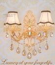 超實惠 金色大號雙頭歐式壁燈床頭燈客廳臥室過道牆壁燈LED水晶壁燈GB009