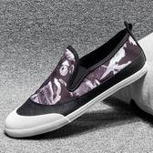 帆布鞋男 休閒鞋 男鞋秋冬潮鞋個性印花韓版潮流休閒拼色布鞋平底鞋《印象精品》q1933