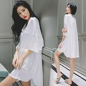 睡衣 睡裙可愛性感 小 心機韓版女夏性感中長款男友白襯衫寬鬆大碼睡衣