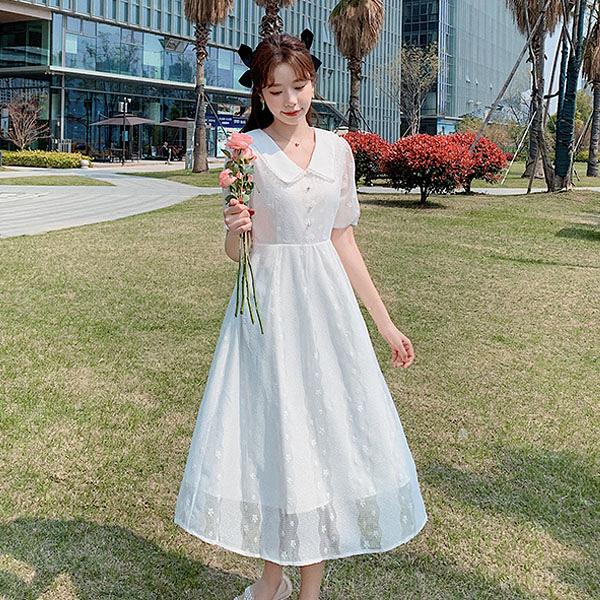 洋裝 超仙翻領蕾絲連身裙-媚儷香檳-【D1654】