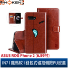 【默肯國際】IN7瘋馬紋ASUS ROG Phone II (ZS660KL) (6.59吋) 錢包式 磁扣側掀PU皮套 手機皮套保護殼