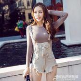 春夏裝新款時尚日韓版磨破流蘇純色顯瘦無袖牛仔背帶連體短褲 時尚芭莎