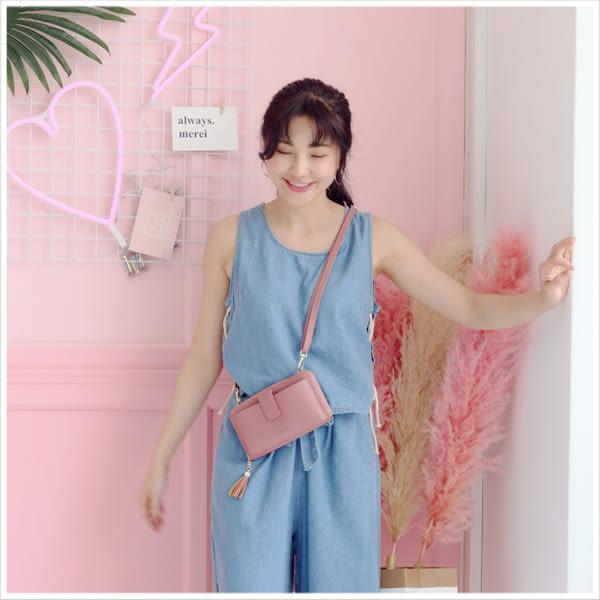 皮夾-韓版兩用簡約壓字長夾/斜背包-共6色-A17172355-天藍小舖