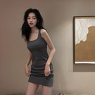 夏季性感針織吊帶裙子2020新款收腰修身顯瘦氣質洋裝女包臀短裙-鹿角巷