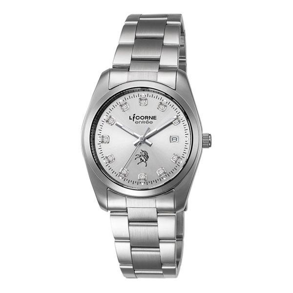 【LICORNE】恩萃 Entrée 簡約時尚設計都市水鑽腕錶 (銀白 LT083BWWS-1)