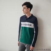 【GIORDANO】男裝刺繡撞色拼接長袖POLO衫 - 04 海軍藍/綠