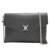 LOUIS VUITTON 路易威登 黑色牛皮logo銀釦手拿包 Mylockme Pochette M63926 BRAND OFF