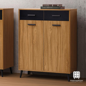 【Hampton 漢汀堡】珊卓淺柚木色2.7尺鞋櫃2.7尺鞋櫃