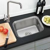 小戶型廚房水槽單槽SUS304不銹鋼加厚一體洗菜盆拉絲台下盆套餐 NMS 樂活生活館