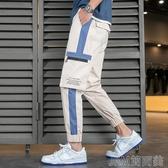 2020夏季薄款工裝長褲男士休閑韓版潮流高中學生潮牌寬鬆九分束腳 简而美