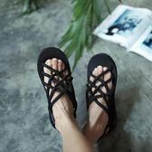 港風涼鞋日系潮男個性涼拖鞋情侶款沙灘涼拖鏤空休閒潮拖鞋男女潮  卡布奇诺