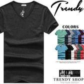 『潮段班』【ML020001】百搭素面簡約風格V領短袖素面T恤短袖T恤