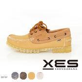 XES 男鞋 接拼 撞色 雷根 帆船鞋 淺棕色