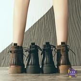 短靴 2019新款秋季短靴女ins馬丁靴英倫風秋款短筒學生加絨秋鞋潮鞋冬 2色【快速出貨】