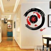 現代簡約新中式客廳創意掛鐘時尚鐘表臥室藝術靜音裝飾石英鐘壁鐘 NMS名購居家