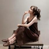 秋季新款針織吊帶連衣裙女背心長裙中長款黑色內搭打底裙修身 完美居家